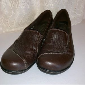 Clark's brown leather slip on loafer size 10N